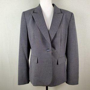 Tahari Gray Pinstripe One Button Blazer Jacket